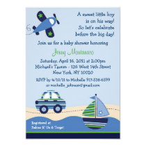 Car Boat Airplane Boys Baby Shower Invitations