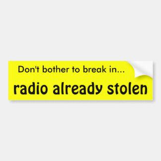 Car Burglar Alarm Car Bumper Sticker
