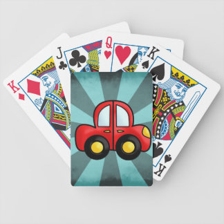 car cartoon bicycle playing cards