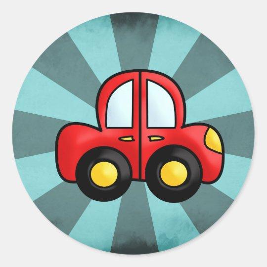 Car cartoon classic round sticker