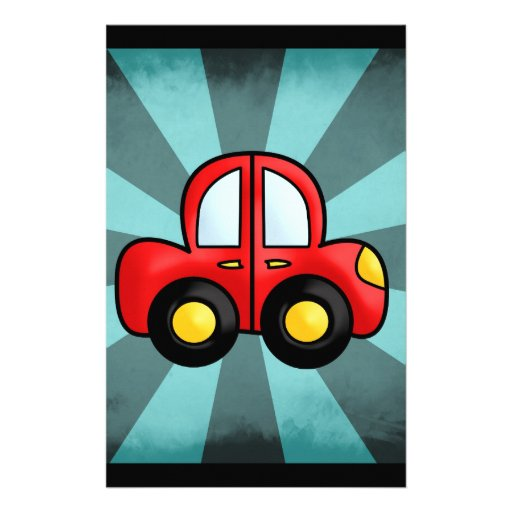 car cartoon personalized stationery