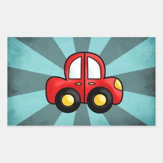 car cartoon rectangular sticker