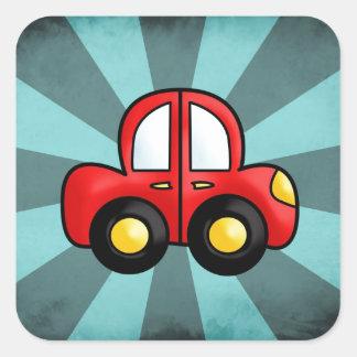 car cartoon square sticker