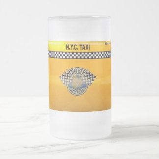Car - City - NYC Taxi 16 Oz Frosted Glass Beer Mug