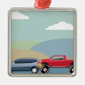 Car crash rear ended vehicle Vector Metal Ornament