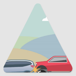 Car crash rear ended vehicle Vector Triangle Sticker