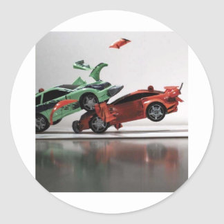 car-crash round sticker