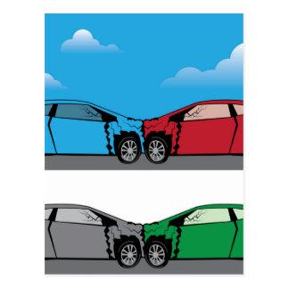 Car Crash vector Postcard