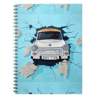Car Crashing Through Wall Street Art Graffiti Notebook