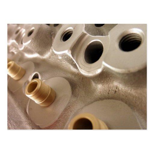 Car Cylinder Heads Metallic Geometric Design Postcard