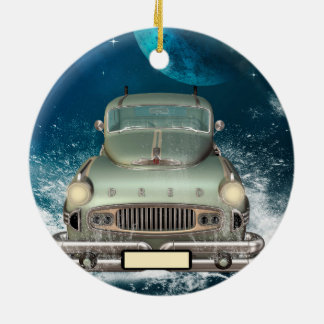Car drives through the water Double-Sided ceramic round christmas ornament