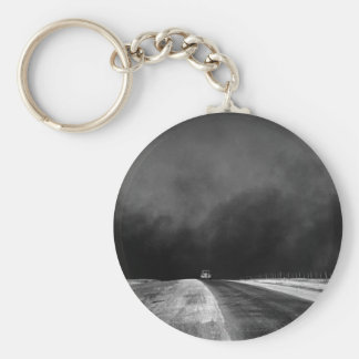 Car Driving The Texas Panhandle in the Dust Bowl Basic Round Button Keychain