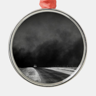 Car Driving The Texas Panhandle in the Dust Bowl Metal Ornament