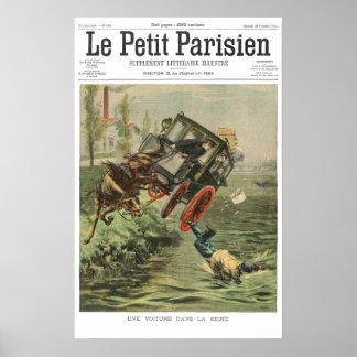 Car falls in Seine - 1901 French newspaper print