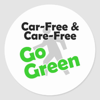 car free & care free classic round sticker