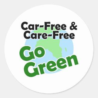 car free & care free - go green classic round sticker