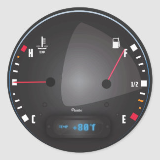 Car fuel and Temperature dashboard Dial Classic Round Sticker