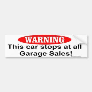 car garage sales car bumper sticker