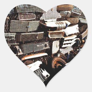 Car grills - Junkyard art Photograph Heart Sticker
