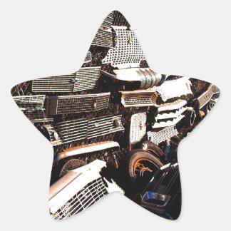 Car grills - Junkyard art Photograph Star Sticker