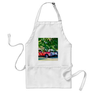 Car In Green Nature 2 Adult Apron