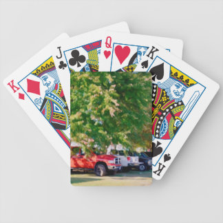 Car in green nature bicycle poker deck