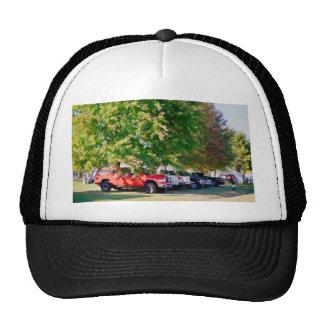 Car in green nature trucker hat