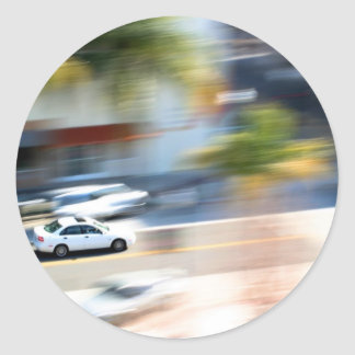 Car In Motion Classic Round Sticker