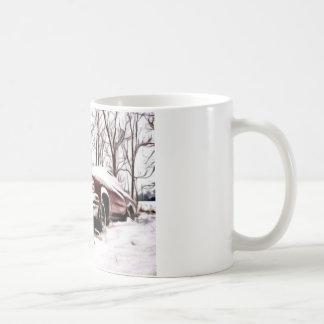car in the snow coffee mug