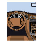 Car interior Wood Trim Vector Postcard