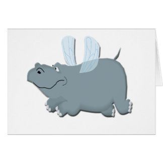 Car/Invitation: Flying Hippo Card