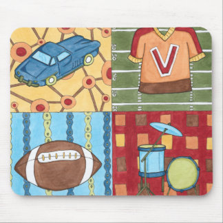 Car, Jersey, Football and Drum Kit Mouse Pad