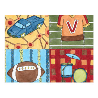 Car, Jersey, Football and Drum Kit Postcard