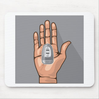 Car key in a hand vector mouse pad