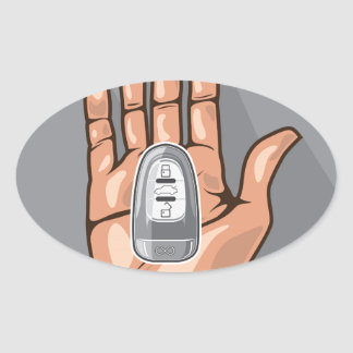 Car key in a hand vector oval sticker