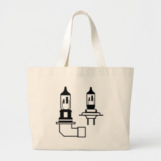 Car lightbulb headlight vector large tote bag