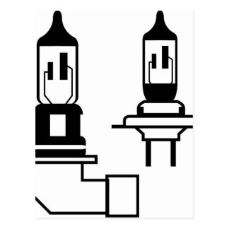 Car lightbulb headlight vector postcard