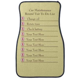 Car  Maintenance Round Tuit To Do List Car Floor Mat