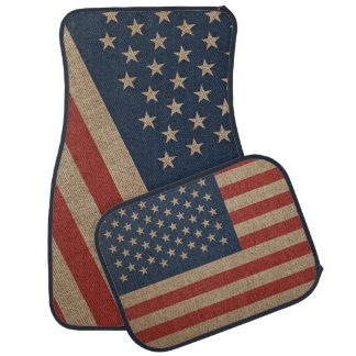Car Mats Full Set print with canvas flag of USA