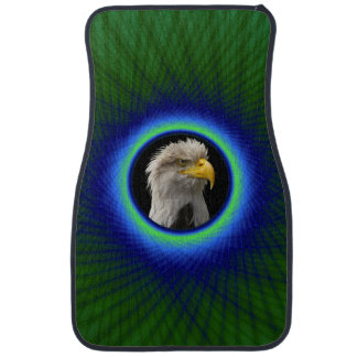 Car Mats  Woven Frame in Green and Blue