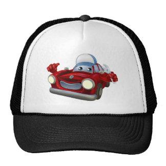 Car mechanic cartoon character trucker hat