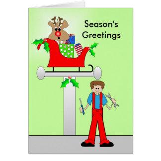 Car Mechanic Christmas Design Greeting Card