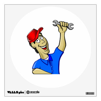 Car Mechanic Holding a Wrench Wall Decal