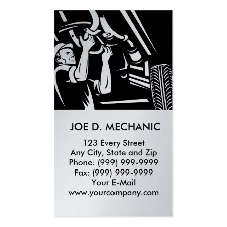 Black and Gray Cartoon Car Mechanic Auto Repair Business Cards