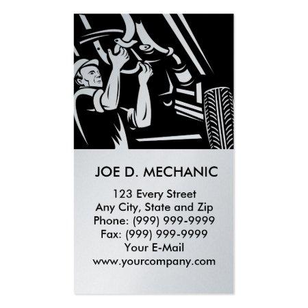 Black and Gray Cartoon Car Mechanic Auto Repair Business Cards