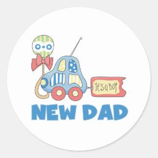Car New Dad It's a Boy Classic Round Sticker