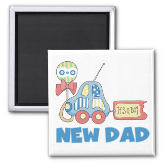 Car New Dad It's a Boy T-shirts and Gifts 2 Inch Square Magnet
