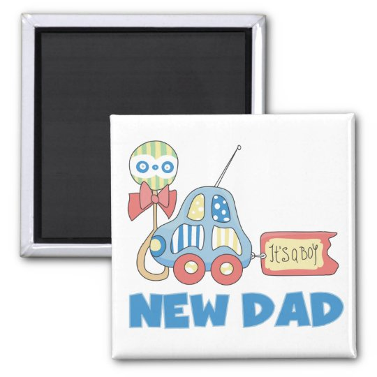 Car New Dad It's a Boy T-shirts and Gifts Magnet