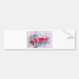 Car Old Car Abstract Watercolor Vintage Classic Bumper Sticker