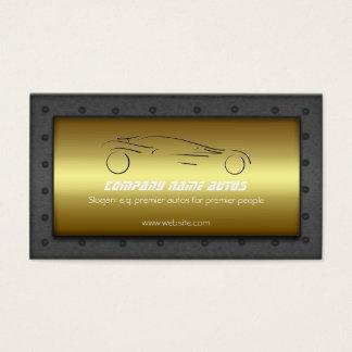 Car on Golden Plate, steel frame - Sportsauto logo Business Card